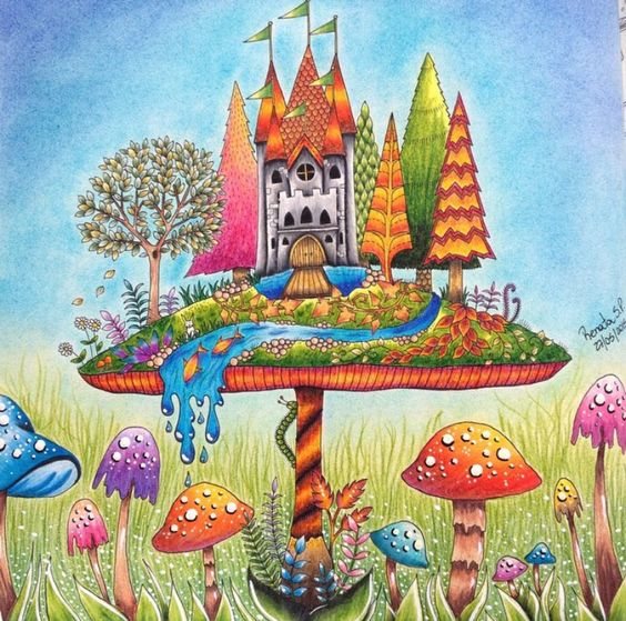 Mushroom Castle Enchanted Forest Castelo No Cogumelo Floresta Encantada Johanna Basford