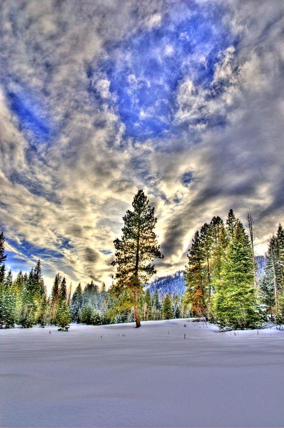 Winter Sunset, Tamarack, Idaho.