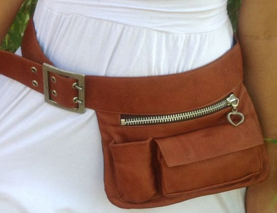 Brown leather Hip Bag Festival Belt Fanny Pack Bum by RuthKraus