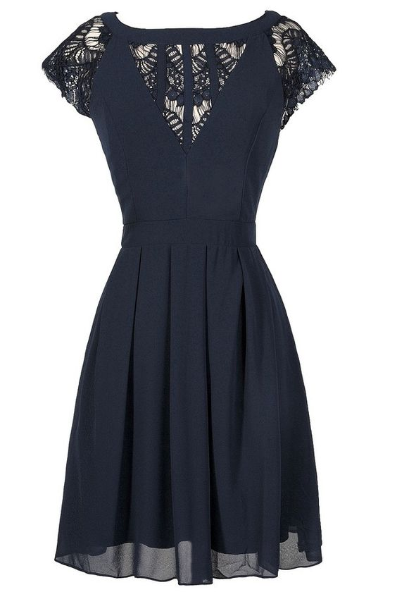 Navy Chiffon and Lace Capsleeve A-Line Dress  www.lilyboutique.com: