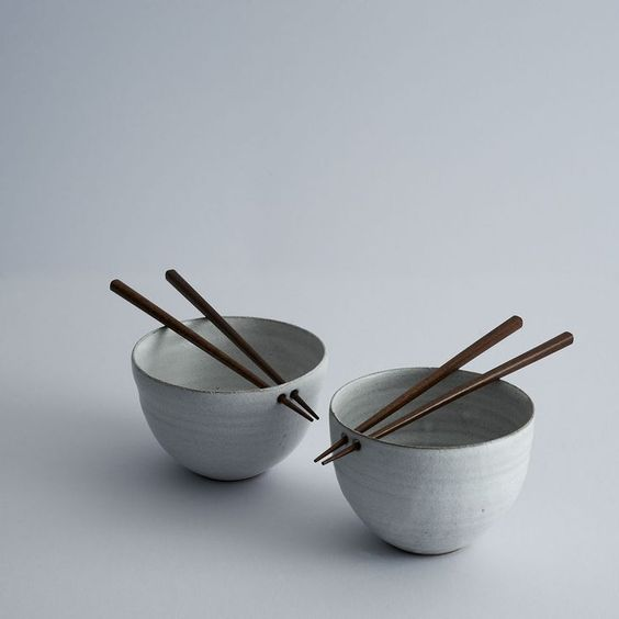 Details we like / Rice Bowls / Stone Color / Chopsticks / Tabletop / at PTUD — adayinthelandofnobody: Rice bowls by Maud and...