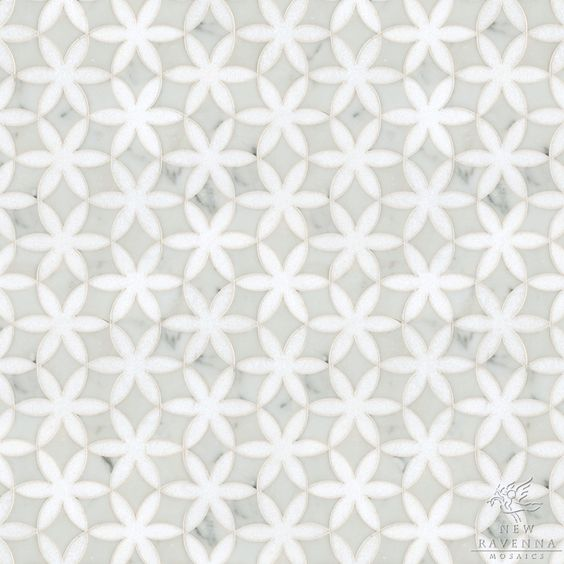 Fiona, a natural stone waterjet mosaic shown in Cararra ...
