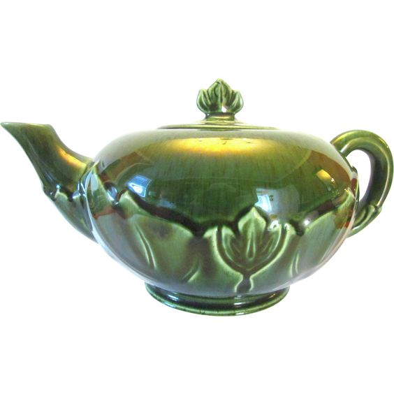 Steubenville Pottery Green Woodfield Midcentury Teapot
