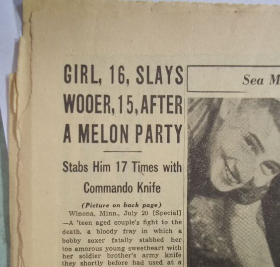 "Best headline EVER! Chicago Daily Tribune, July 21, 1945. ""The World's Greatest Newspaper"" and ""Three Cents--Pay No More"". But Beware the Melon Party!! (Or wooing the wrong girl.)"