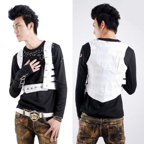 Unique White Gothic Hippie SWAT Style Vests Waistcoats Men ...
