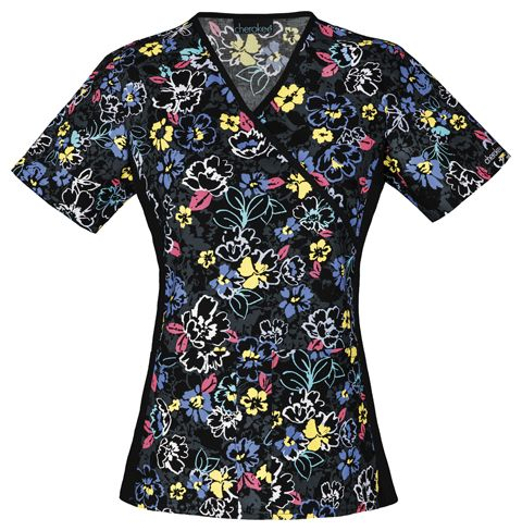 """This top is so comfortable, you will want to """"Stay Floral While""""...this Cherokee scrub top is available at The Uniform Outlet!"""