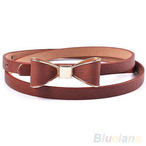 Fashion Women's Candy Color Big Bowknot PU Leather Thin Skinny Waistband Belt 00OE
