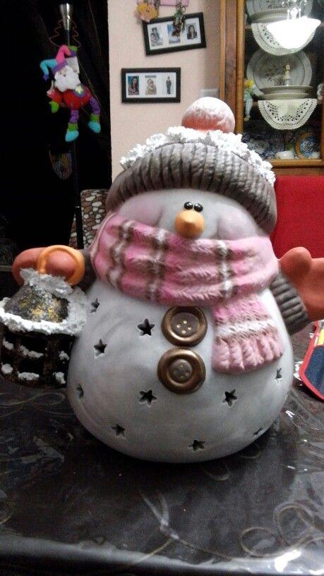 Cer mica on pinterest for Figuras de nieve navidenas