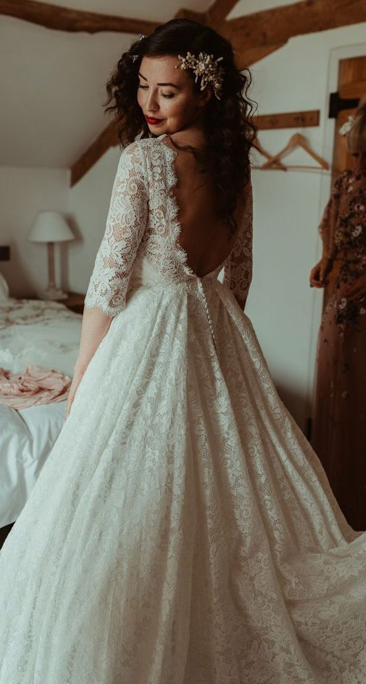 Backless Modest Vintage Lace Ball Gown Wedding Dresses With Sleeves Awd1310 Wedding Dresses Lace Ball Gowns Wedding Wedding Dresses Lace Ballgown