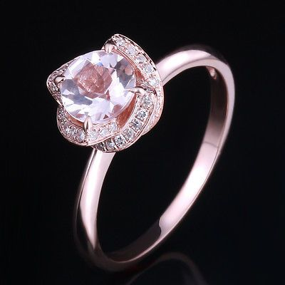 Morganite&Diamond Flower Shape Engagement Wedding Ring 14K Rose Gold 6.5mm Round