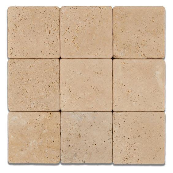 4 X 4 Ivory Travertine Tumbled Field Tile