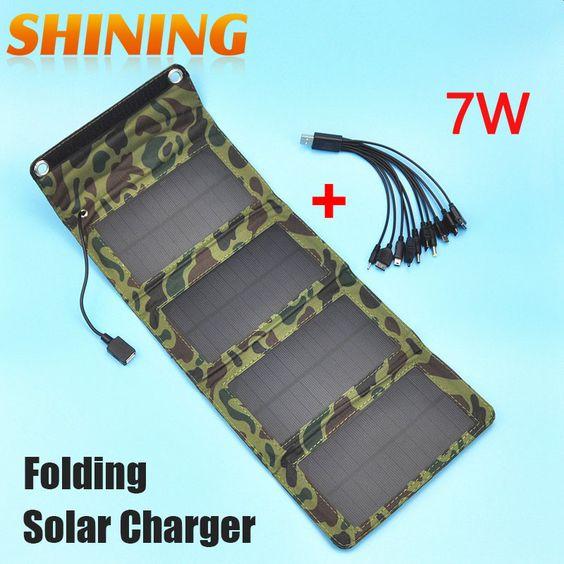 Actualizado 5 V 7 W alta eficiencia de células solares Panel dispositivo de carga cargador para el teléfono móvil y 5 V de dispositivos + 10 en 1 Cable de carga(China (Mainland))