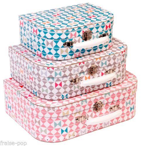 Valisette en carton motif triangles formes g om triques valise r tro vintage - Valise carton vintage ...