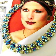 Vtg RARE PEACOCK BLUE GREEN AB CRYSTAL RHINESTONE LISNER NECKLACE WIDE LUXE