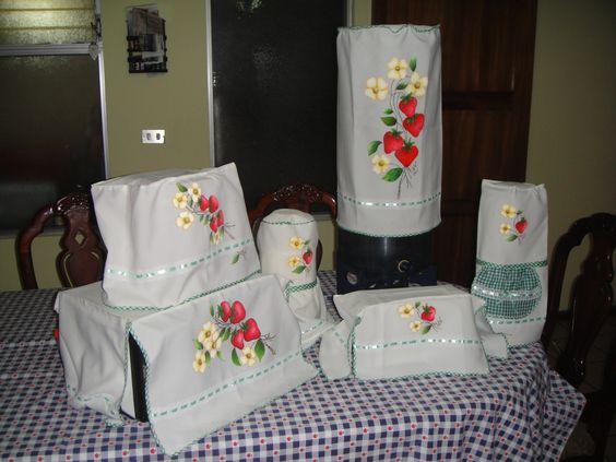 Juego de cobertores para cocina mis trabajos en tecido pintura en tela pinterest - Pintura para cocina ...
