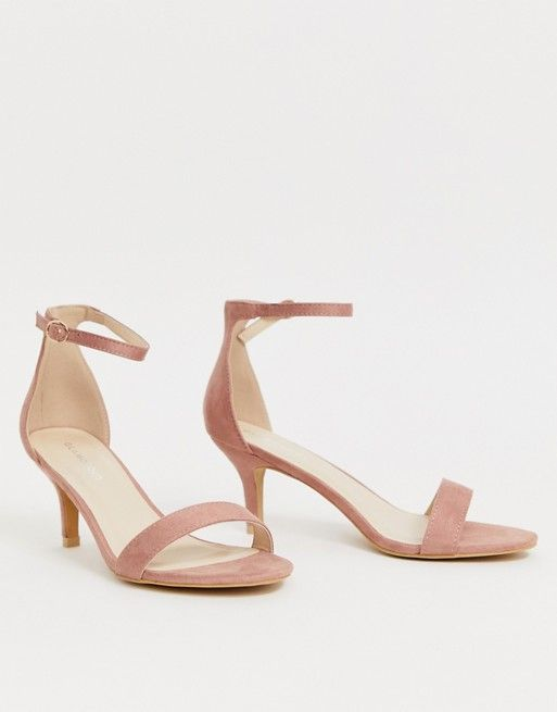 Glamorous Pink Barely There Kitten Heel Sandals Asos Kitten Heel Sandals Sandals Heels Gold Kitten Heels