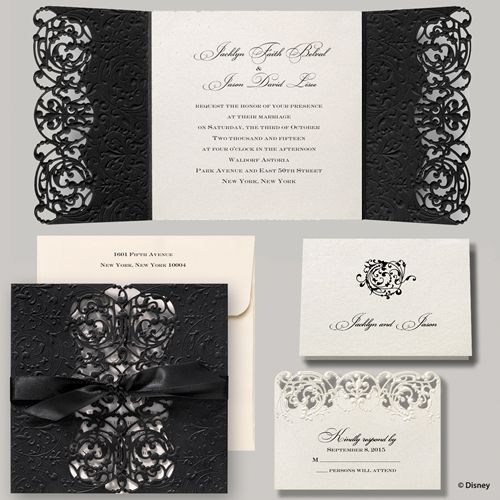 Elegant Ribbon Tied Wedding Invitation Disney Fairytale Wedding Invitations