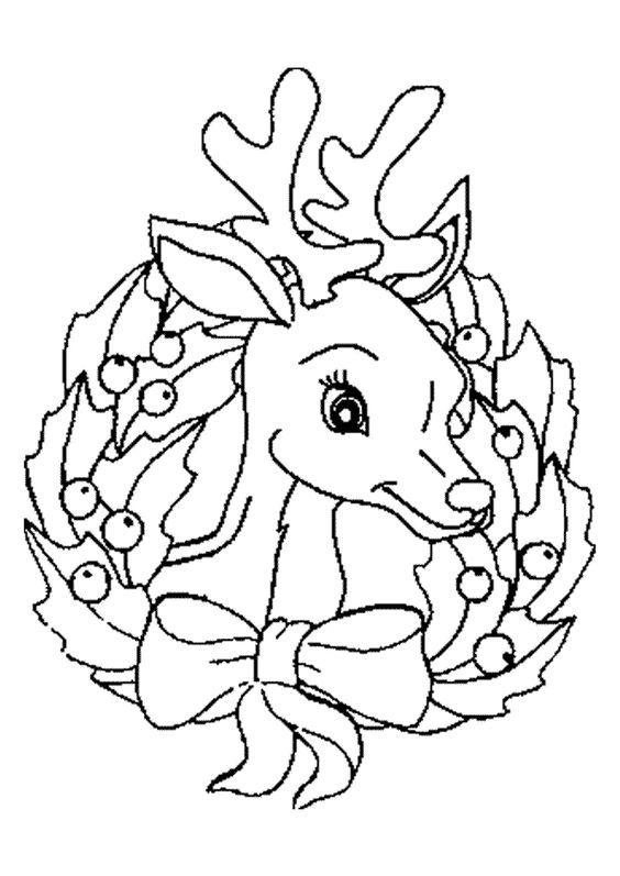 Une Couronne De Noel Avec Un Bebe Renne A Colorier Free Christmas Coloring Pages Christmas Coloring Books Christmas Tree Coloring Page