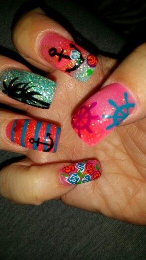 Summer nails anchors palm trees cruise nails