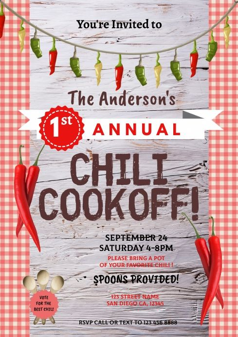 Chili Cook Off Flyer Template In 2020 Chili Cook Off Cook Off Poster Template
