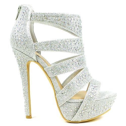 Open Toe Silver Heels | Fs Heel