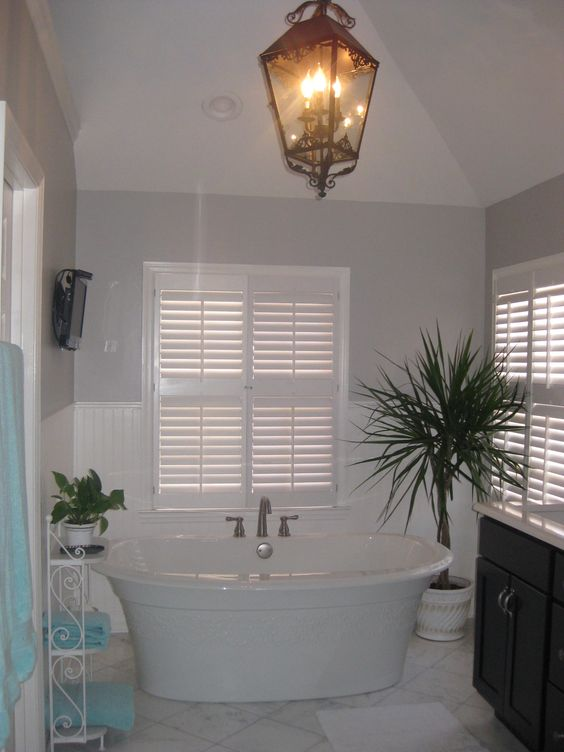 Black And White Bathroom With Blue Accents: Gorgeous White, Black, Gray Bathroom With Baby Blue