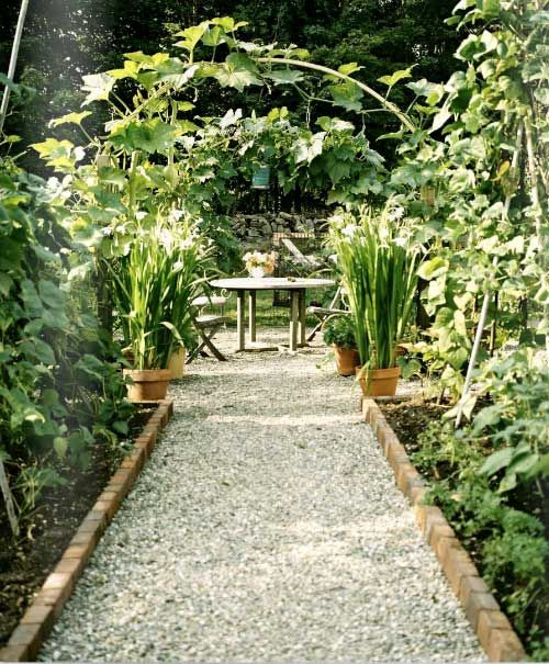 Pea Gravel with brick beds
