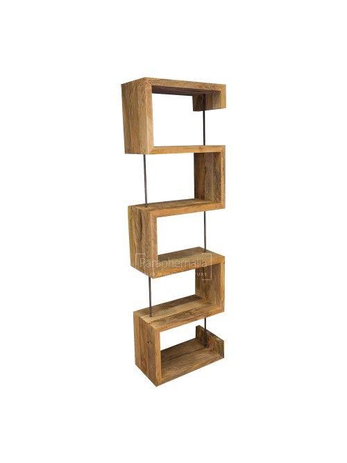 Solid Mango Wood Display Unit Storage Bookcase S Shape Mango Wood Furniture Solid Wood Bookshelf Solid Mango Wood