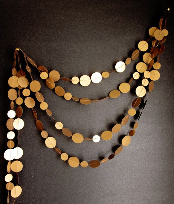 : Party Garland, New Year Decoration, Circle Garland, Antique Gold