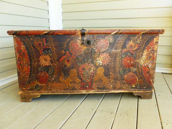 Antique 1800's, Heavily Hand Painted, Primitive Pine Peasant Trunk, Nuptual Trunk, Folk Art, European, Czeck. $900.00, via Etsy.