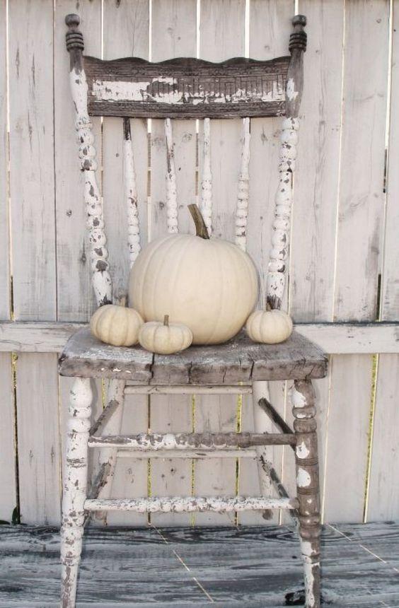 Verweerde houten stoel met witte pompoenen.