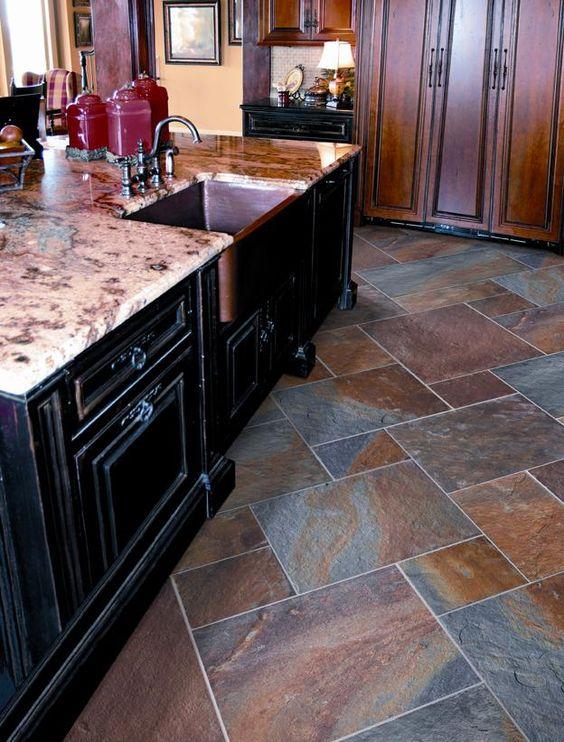 Slate floor tiles kitchen tile inspirations pinterest the floor basement family rooms and - Basement floor tile ideas ...