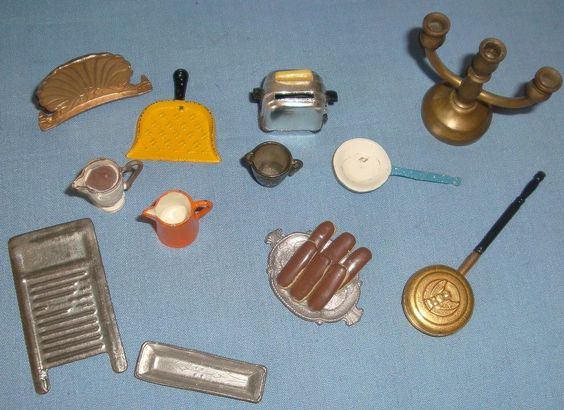 Miniature+Doll+House+Accessories | Vintage Dollhouse Doll Miniature Metal Accessories