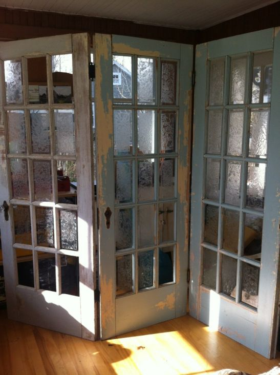 Room dividers doors and vintage furniture on pinterest for Can you put screens on french doors