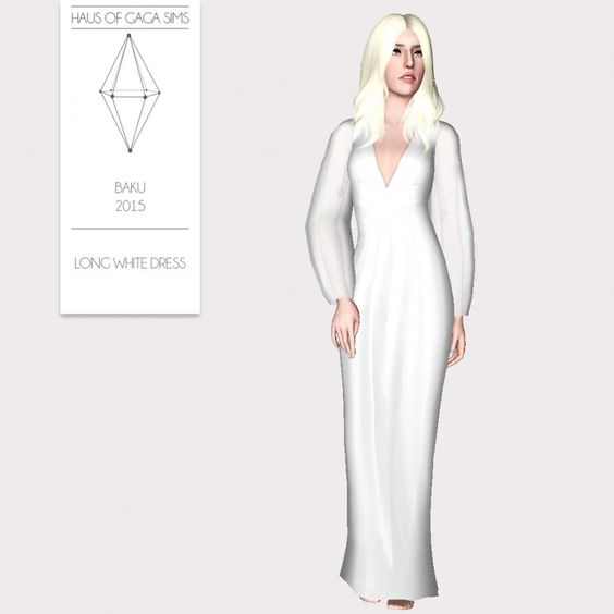 LONG WHITE DRESS by MarcSims - Sims 3 Downloads CC Caboodle