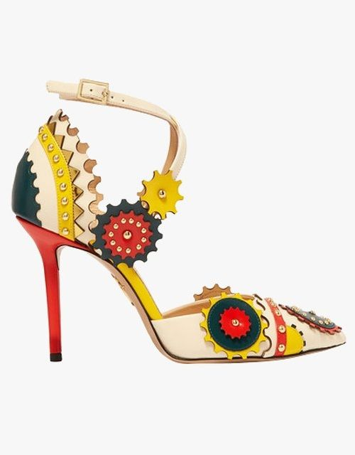 Charlotte Olympia Mechanix studded leather pumps.