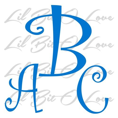Custom Initial Monogram Vinyl Decal - Your Initials Curly Letters | LilBitOLove - Housewares on ArtFire