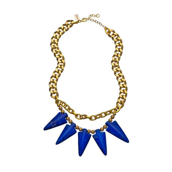K. Amato Blue and Gold Spiked Choker Necklace found on Polyvore