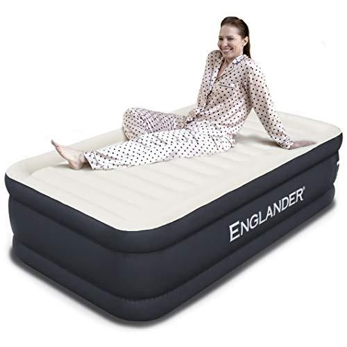 Englander First Ever Microfiber Air Mattress Twin Size Luxury Airbed With Built In Pump Highest End Blow Up Bed Inflatable A Air Bed Blow Up Beds Twin Mattress