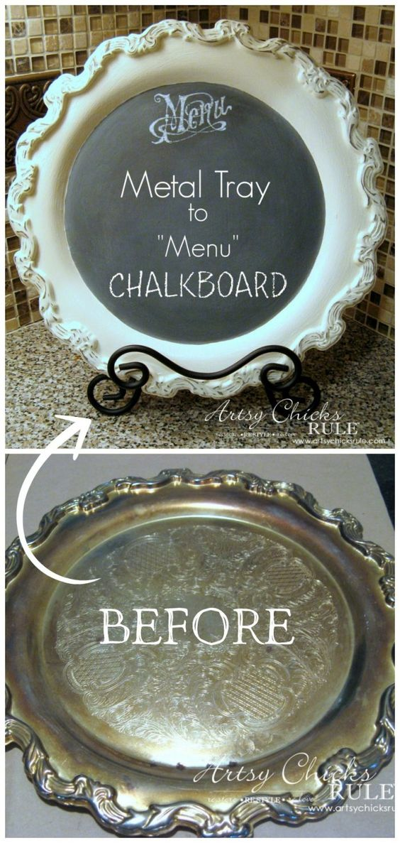 Old Metal Tray Repurposed!! So EASY with Chalk Paint! artsychicksrule.com