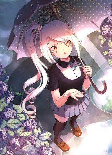 Una linda chica con un paraguas