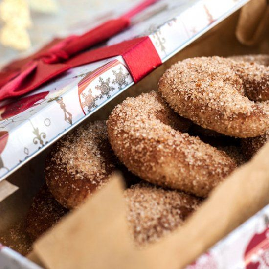 Buttery, melt in your mouth shortbread cookies with ground pecans and tossed in cinnamon sugar