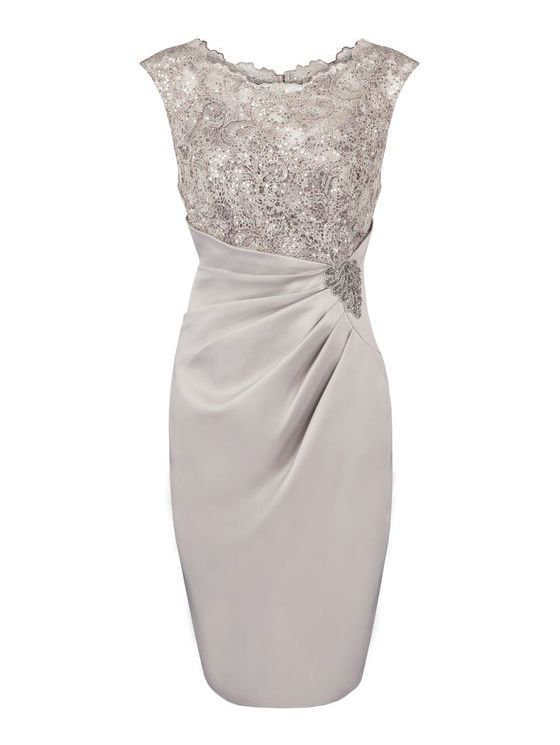 Grey Lace appliques Dress Silver Wedding Dress Mother of bride
