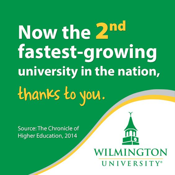 Thank you to our students for making us the 2nd fastest growing university in the nation. (Source: The Chronicle of Higher Education, 2014) #WilmU