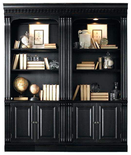 Modern Black Bookshelf With Doors