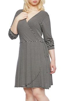 Plus Size Striped Wrap Front Dress With Side Tie - 8476020626415