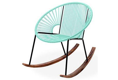 Mid-Century Modern Turquoise Aqua Rocking Chair - Love the Sleek Lines and Mod Shape!