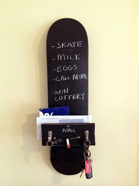 Keyholder Chalkboard Skateboard Home Organizer by KeyholderQuality, $45.00