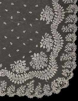 A Brussels needlepoint lace wedding veil c. 1820. Christies.com