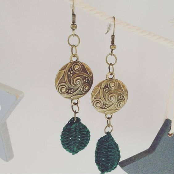 SALE Antique brass earrings with tribal celtic disk charms von zima